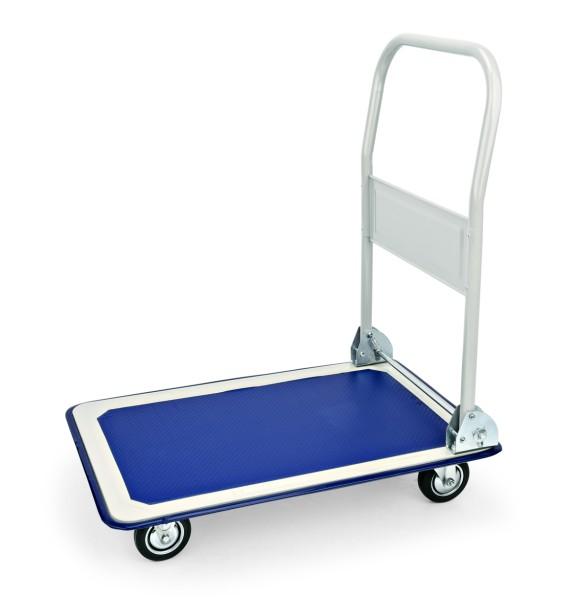 Plattformwagen, Griffe weiß lackiert, Platte aus Polypropylen in blau