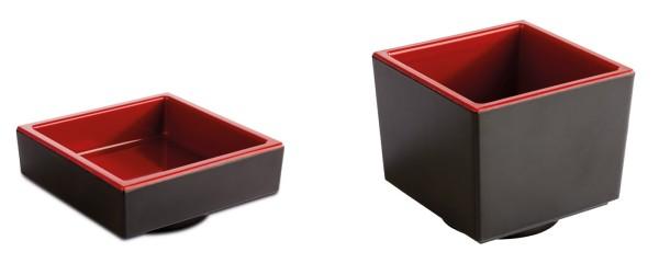 """Melamin Schale, Bento Box, Serie """"ASIA PLUS"""", rot/schwarz, viereckig, Größen von 7,5-23 cm wählbar"""