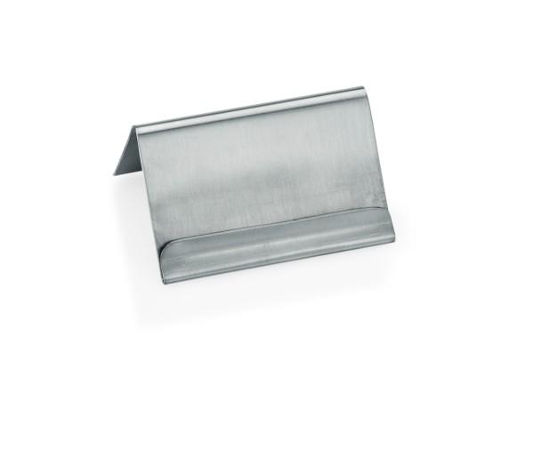 Kartenhalter aus CNS - mit Falz für Kärtchen | Abm.: 6 x 4,5 x 3,5 cm