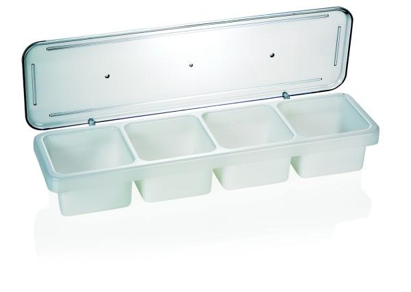 Zutatenbehälter, Barbehälter, Kunststoff, 4 Einsätze mit 0,6 Liter Inhalt, 47x14x7 cm, preiswert