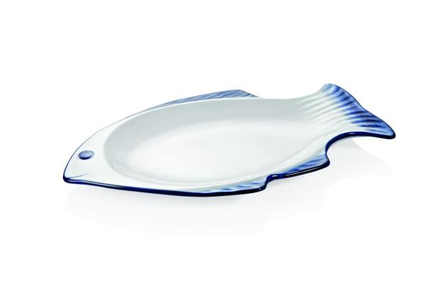 Fischplatte mit blauem Rand