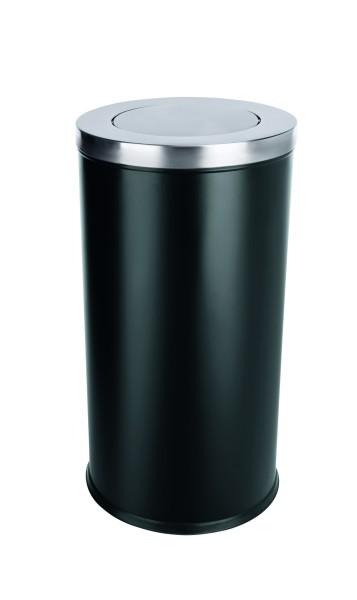 Abfalleimer aus pulverbeschichtetem Stahl/Deckel aus CNS | Höhe: 72 cm