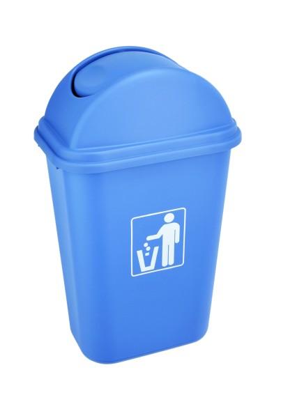 Abfalleimer aus Polypropylen in blau - mit Schwingdeckel