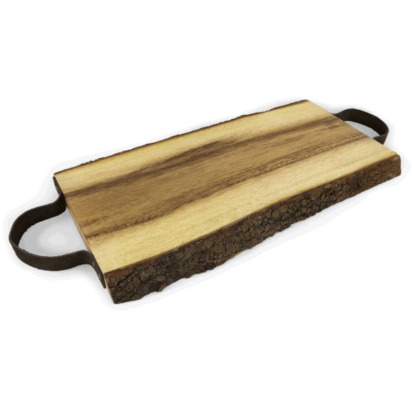 Servierbrett mit Ledergriffen, 46 x 20 cm, Holz