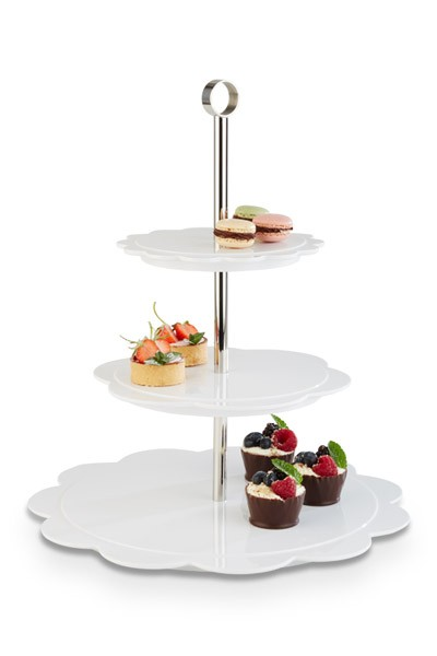 "Melamin Etagere, Serie ""Bakery"", 3-stufig, 40 cm Höhe, weiss, gerundete Ecken"