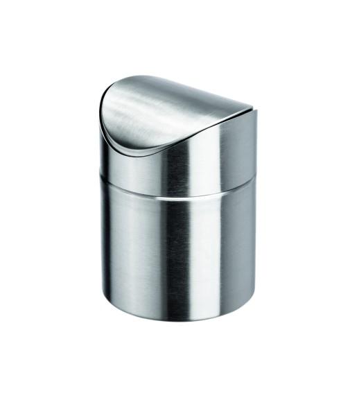 Tischabfalleimer mit Schwingdeckel - aus Edelstahl | Höhe: 16,5 cm