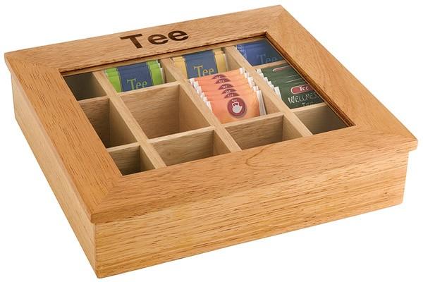 Teebox mit 12 Kammern 31 x 28 cm, H: 9 cm