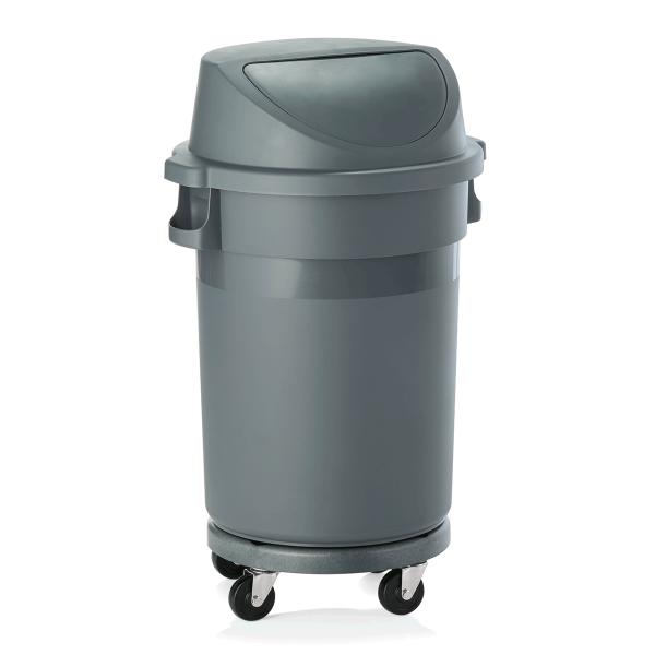 Abfallbehälter mit Push-Deckel & Rädern, 80 ltr.