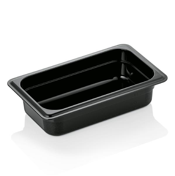 GN Behälter 1/4-065 mm, schwarz, Polycarbonat